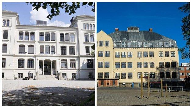VIL HA TO SKOLER: Pensjonistpartiet vil beholde dagens Os skole (t.h.) som en del av en ny skole samt at Rødsberg ungdomsskole består og rehabiliteres fullt.