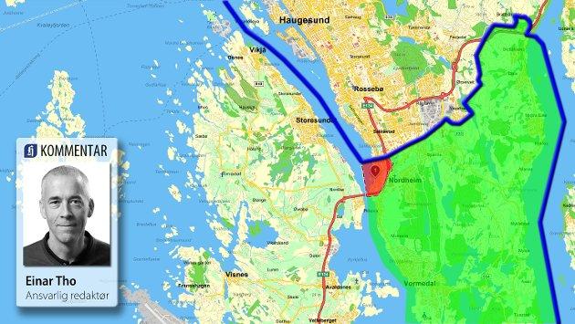 KOMMENTAR: I det lille røde feltet ønsker flertallet overgang til Haugesund. Det grønne feltet er deler av områdene hvor det sies klart nei. Legg også merke til at det er bygget bru over Karmsundet.