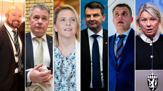 SVIKTET: – Konklusjonen etter Ernas seks justisministre er at de har sviktet ansatte – som har utført et oppdrag på vegne av, og for samfunnet. F.v: Anders Anundsen (2013-2016), Per-Willy Amundsen (2016-2018), Sylvi Listhaug (2018-2018), Tor Mikkel Wara (2018-2019), Jøran Kallmyr (2019-2020), Monica Mæland (2020-).