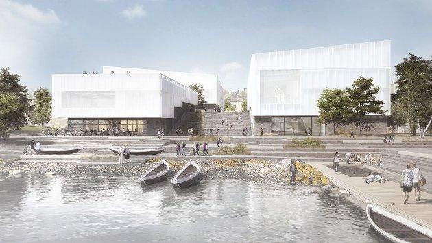 Slik er skissen fra Henning Larsen Architects til nytt arktisk museum i Tromsø