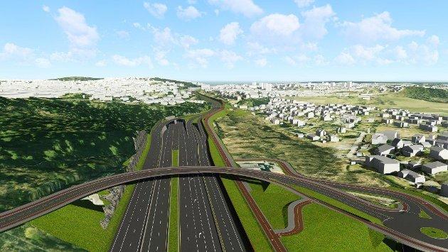 Den planlagte nye tunnelåpningen vil komme i skråningen tett på boligområdet mellom Karlsrud og Brattlikollen, og gi beboerene der dårligere bomiljø.