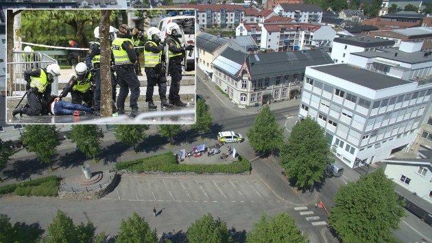 KONTANT BESKJED: Slik så det ut da SIAN lørdag talte på Gjøvik for noen år siden. På det meste var det 30-40 mennesker som fulgte med  fra fortauene utenfor sperringene. Det innfelte bildet viser tilstandene i Bergen tidligere i sommer.