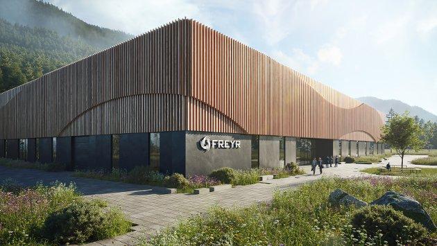 Slik ser Tanken Arkitektur for seg utformingen på pilotfabrikken Freyr skal bygge inne i Mo Industripark. Tegning: Tanken Arkitektur AS