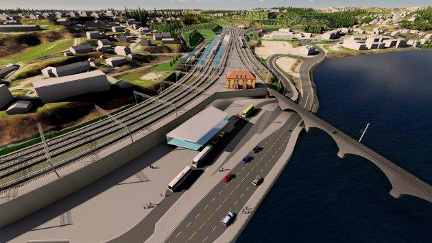 STASJON: Hønefoss stasjon planlegges slik i reguleringsplanen for E16 og Ringeriksbanen. Den gamle stasjonsbygningen får etter alt å dømme stå også i fremtiden.