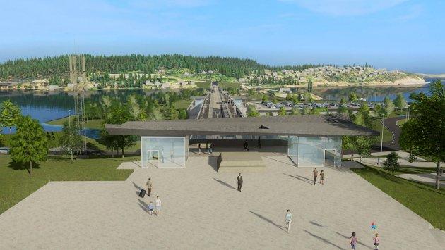 STASJONEN: Slik kan nye Sundvollen stasjon ta seg ut sett i retning mot Kroksund.