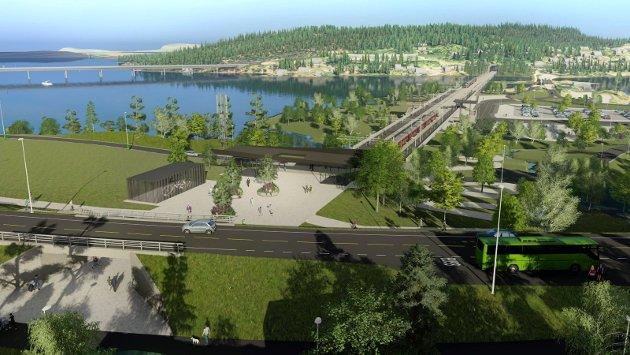 VIKTIGST: Fellesprosjektet E16 Ringeriksbanen er viktigst mener NHO. Her illustrert med skisser for  Sundvollen sentrum med ny stasjon. Ny motorveibru til venstre i bildet.