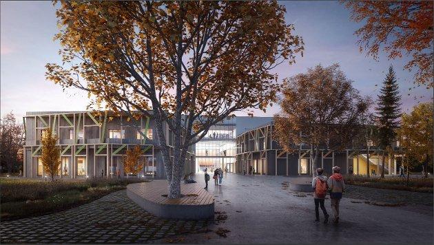 DYR INVESTERING: Anne Solberg skriver at å bygge en helt ny skole på Åsgård er en unødvendig dyr investering. Illustrasjonen viser hvordan fremtidige Åsgård skole skal se ut når den er ferdig.