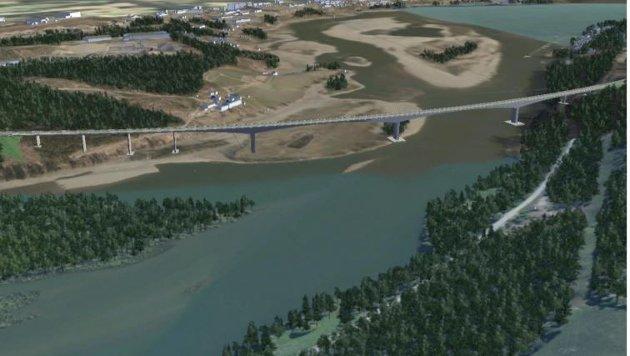 Planlagt ny  E6 bro over Lågendeltaet naturreservat