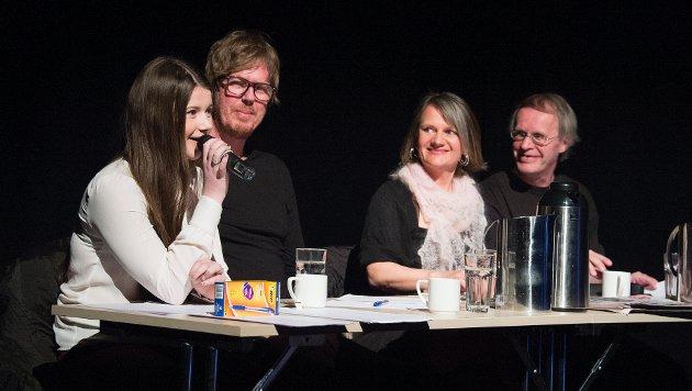 Tidligere HaldenTalentet-vinner Rebekka Rognøy (f.v.), Terje Støldal, Inger Lise Haavelsrud og Thorkil Lindskog var dommere under Strupes audition i Brygga kultursal i 2013.