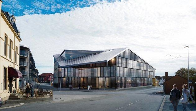 HER: Blåseensemblet ønsker seg et nytt bygg på parkeringsplassen i Jernbanegata. Bygget får parkeringsplasser i kjelleren.