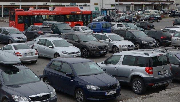 Det er fullt på distriktets parkeringsplasser. Her fra Lambertseter Arkivfoto