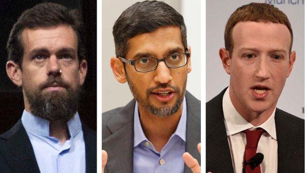 - Vi har gitt Big Tech makt over deler av demokratiet, uten at de har et ansvar for å bevare det, skriver Nima Salimi, statsvitenskapsstudent, Oslo. Fra venstre: Twitter CEO Jack Dorsey, Google CEO Sundar Pichai og Facebook CEO Mark Zuckerberg.