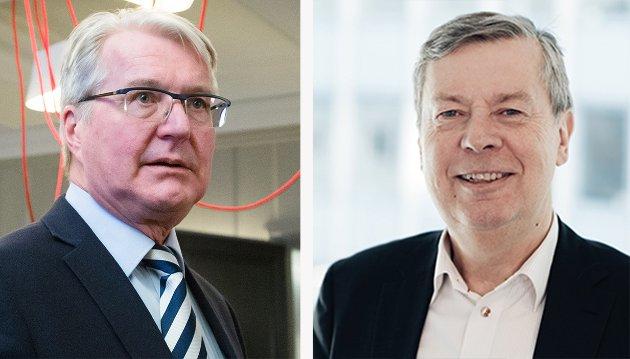 SVARER: Etter at Fabian Stang (t.v.) gikk hardt ut mot Obos i et leserbrev, svarer kommunikasjonsdirektør Åge Pettersen (t.h.). Han beskriver Stangs leserbrev som kunnskapsløst og reagerer på beskrivelsene han får komme med.