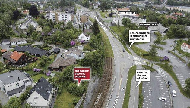Den planlagte ekspressykkelveien på Skjold gjør et godt innhogg i private eiendommer. FOTO/GRAFTIKK: BA