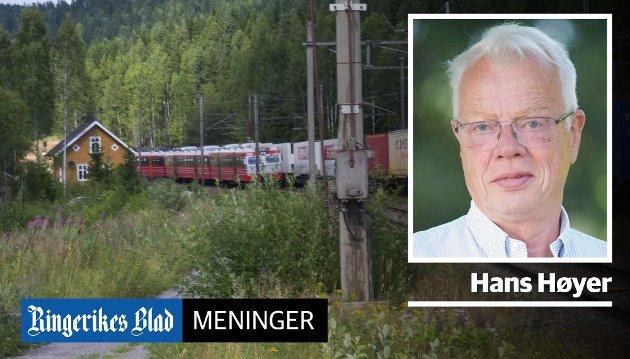 GJØVIKBANEN: – Enkelte kurver på denne linjen må rettes ut, slik at togene kan oppnå en hastighet på 200–220 km/time, skriver Hans Høyer.