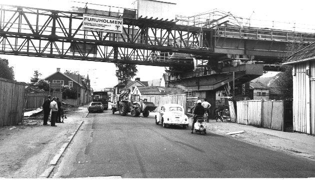 Bygging av motorveibroen, her går broen over Tordenskjoldsgate  1975