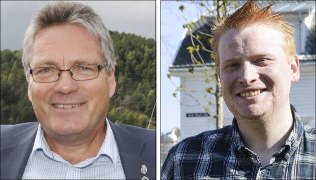 NY ORDFØRER?: Slik nyhetsredaktør Morten Ulekleiv ser det, er det Fredrik Holm (t.h.) som er den naturlige arvtakeren til Thor Edquist i ordførerrollen i Halden.