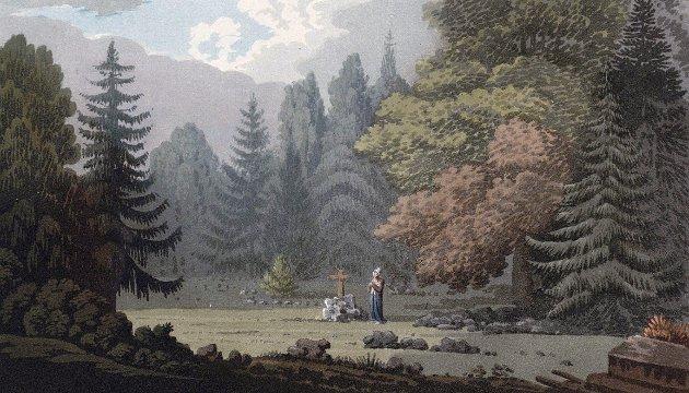 Den engelske billedkunstneren John William Edy (1760-1820) tegnet dette bildet på stedet under sin reise i 1807 langs kysten fra Lindesnes til Svinesund. Han kalte bildet «Burial ground at Lavkoul», og på norsk ble det presentert som «Begravelse plads paa Larkullen».