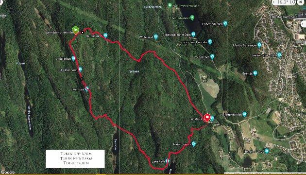 Turkart:  Her er kart over dagens tur. Fra Skalland (rød pil) gikk vi til venstre på vei oppover, den løypa er 3,7 km til Tårnet.  Hjemover gikk vi en kortere vei, 2,4 km tilbake til Skalland.