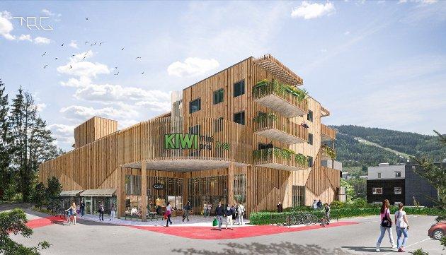NÆRMILJØSENTER: Illustrasjon av det planlagte butikk- og boligbygget i Blomsterbakken.