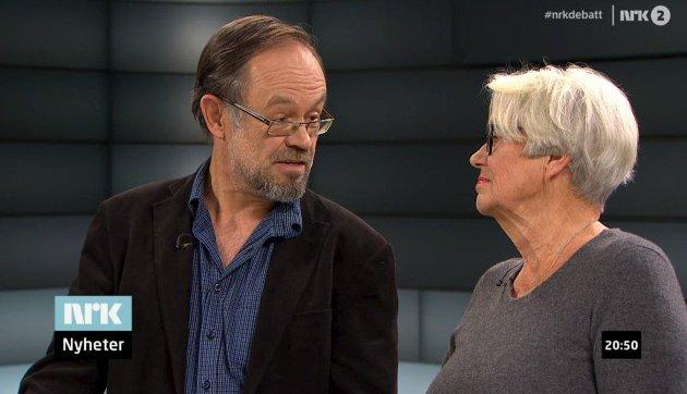 10. februar 2015:  Ingeborg Moræus Hanssen og Magne Aasbrenn møttest til språkkamp i Aktuelt på NRK 2. Aasbrenn og Østfold-målet stod att som vinnar, meiner kronikkforfattaren. Foto: skjermbilete frå programmet