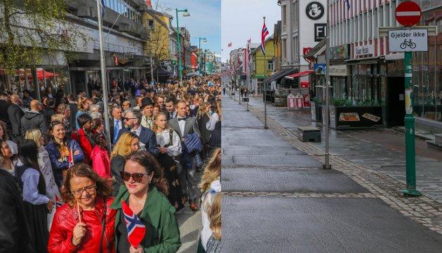 Samme bilde - to verdener. Storgata like etter barnetoget i 2018. Samme bilde på samme tid to år senere.