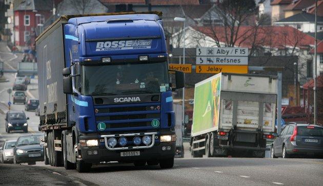 Trafikk: Mye tungtrafikk skal gjennom Moss.