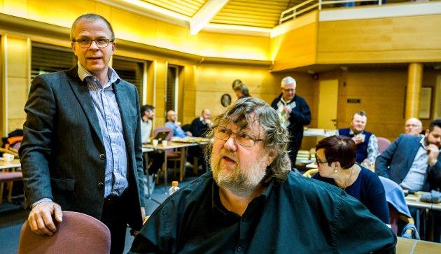 FORSLAG: Ståle Solberg (t.v.) og Steinar Haakenstad (bildet) vil sammen med Kai Roger Hagen fremme et forslag i bystyret om at kommunen skal trekke seg ut av Bypakke Nedre Glomma og heller satsen på en gen Bypakke Sarpsborg.