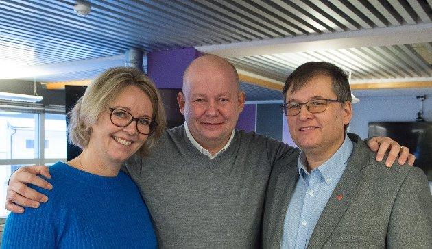 DUELLANTER: Ordførerkandidatene Anne Bjertnæs (H), Torvild Sveen (Sp) og Even Solhaug (Ap) agerer også sammen.