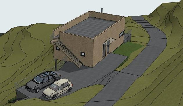 SLIK: Slik ville den nye hytta bli seende ut om de fikk lov til å bygge den i Sperrekleiva 8.