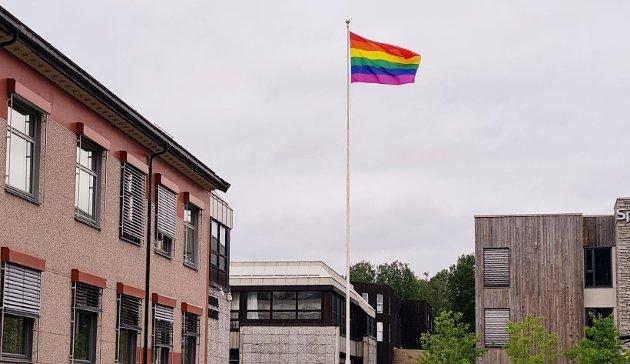 Pride-flagget på kommunens flaggstang.