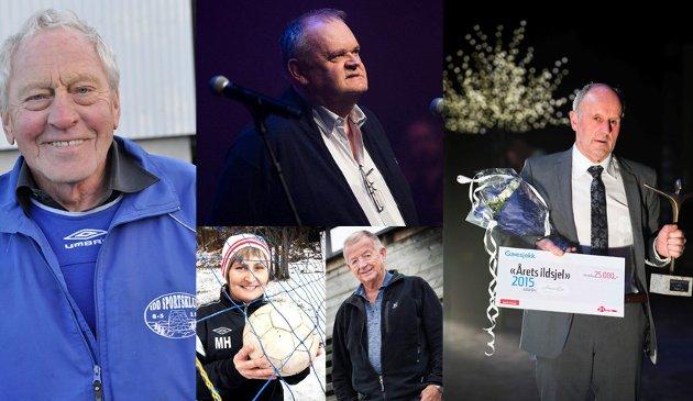 ILDSJELER: Disse fem ildsjelene er hittil blitt kåret av HAs lesere: Øverst fra venstre: Kai Hafsrød (2014), Øivind Jørstad (2016), Hans Lie (2015). Under: Marianne Hammerstad (2012) og Odd Grønberg (2013). Du kan være med på å avgjøre hvem som blir Årets Ildsjel for 2017.  Fotomontasje: HA
