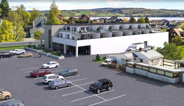 KOMBINASJONSBYGG: Det er planer om leiligheter og næringsbygg ved Fastland. Kiwi ønsker seg inn i lokalene.