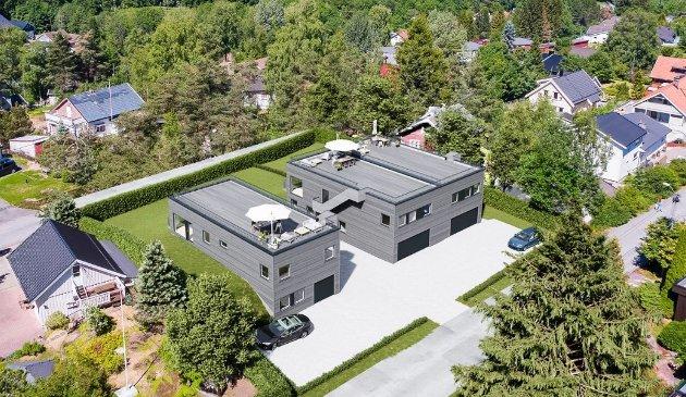 KRITISK: Skribenten forstår ikke at det bygges hus med flate tak, såkalte brakke-eneboliger, i snøparadiset Nittedal.