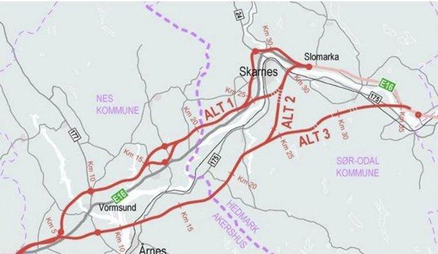 FORSLAG: Nye Veier anbefaler at motorveien mellom Nybakk og Slomarka ender ved Fulu-krysset mellom Sør-Odal og Kongsvinger.