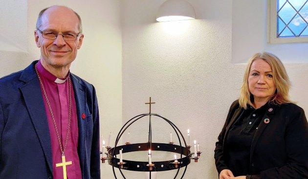 Biskop Olav Øygard, Nord-Hålogaland bispedømme og Kjersti Antonette Kvammen, regionkoordinator Kirkens Nødhjelp Nord-Norge