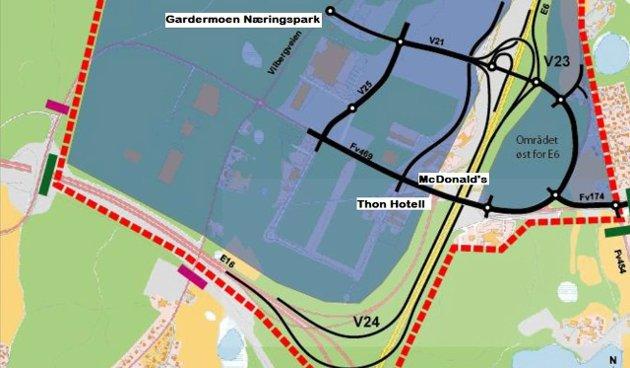 E6-kryss: Næringsparkkrysset (V23) er det nordligste av de to nye kryssene på E6 nord for Jessheim.