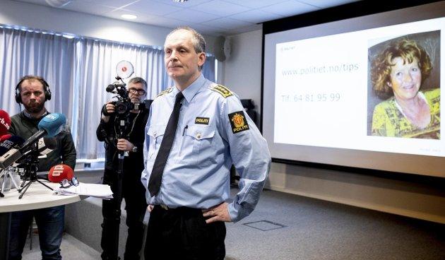 Leder etterforskningen: Dette bildet ble tatt 9. januar 2019 da etterforskningsleder Tommy Brøske informerte offentligheten om forsvinningen av Anne-Elisabeth Hagen. FOTO: LISBETH LUND ANDRESEN