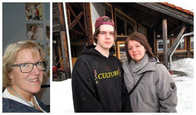 Hilde Bakkenget, her sammen med sønnen, er kritisk til hvordan sykehusledelsen, representert ved direktør Alice Beate Andersgaard, håndterer ungdompsykiatrien.
