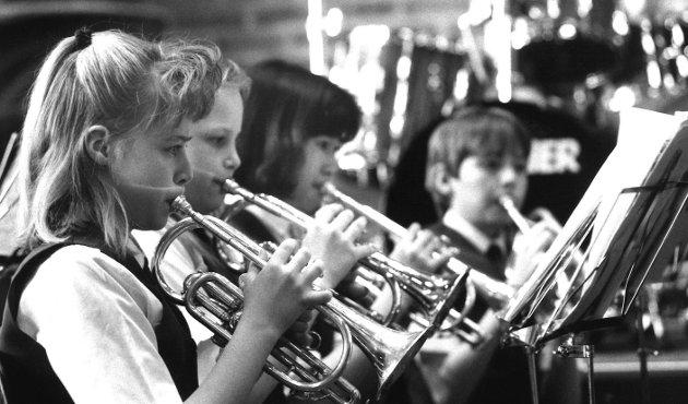 Krapfoss skolekorps, mars 1993.