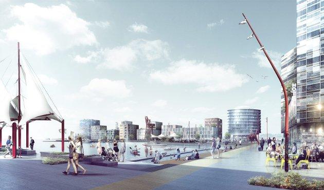 Skisse: Dark Arkitekter og Vismo lagde i sin tid denne ideen for den nye Moss havn.