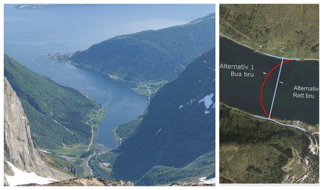 VAKKER BRU: Hoff, Landmark og Sundby ber om ei vakker bru over Esefjorden.