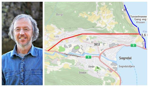 Tom Dybwad presiserer at Solhov, Helgheim og Fjordstien er viktige deler av Sogndal sentrum, og at han meiner det er uheldig om miljøet der blir øydelagt av tungtrafikk i framtida.