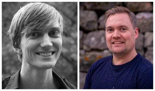 Matias Askvik, styremedlem i Lærdal SV og Sæmund Stokstad, kandidat på stortingslista til SV i Sogn og Fjordane.