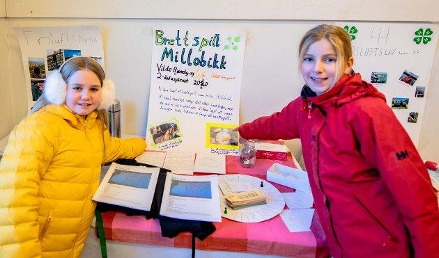 Vilde Bjørneby (11) og Tyra Lilleholt Kraugerud (11) satser på spill og laget de sitt eget som de kalte Millobikk.