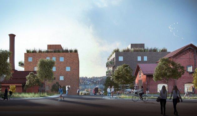 FRA FABRIKK TIL BOLIGER: Skisse av det fremtidige boligprosjektet i Eterveien. Illustrasjon: A-lab/JM Norge