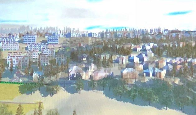 SKISSE: Her er en av skissene som utbyggerne presenterte under møtet om nye Skafjellåsen rett før jul.