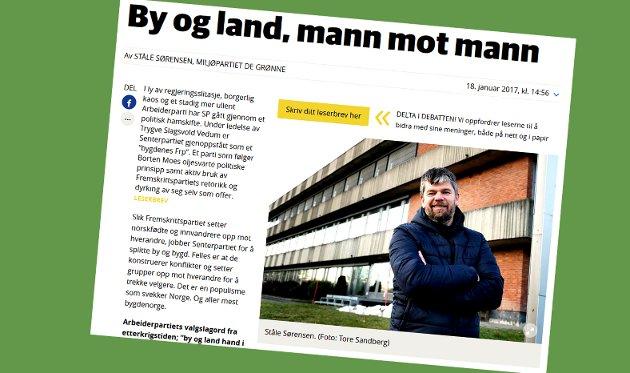 SKJERMDUMP: bygdeposten.no 18. januar 2017.
