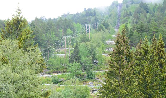 Delar av Trallebanen og vegen til Topp. Mågelia og Skjeggedal