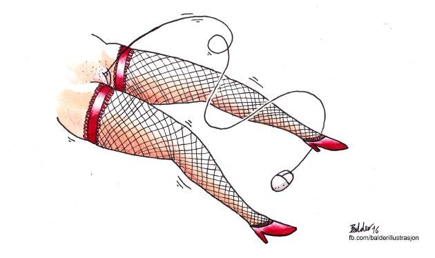 Tilgjengelig ved et tastetrykk:  – Har den enkle tilgangen, med tilhørende økt bruk, gjort pornoen stueren, spør Kjell Jørgen Holbye. (Tegning: Balder Andersen)
